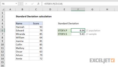 Simpangan baku dalam Excel